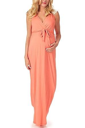 358ad33e40a7c PinkBlush Maternity Coral Crochet Back Maternity/Nursing Maxi Dress ...