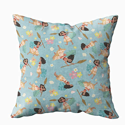 Musesh moana floral pattern Cushions Case Throw Pillow Cover For Sofa Home Decorative Pillowslip Gift Ideas Household Pillowcase Zippered Pillow Covers 20x20Inch