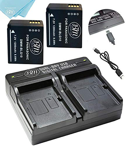 BM 2-Pack of DMW-BLG10 Batteries and Dual Battery Charger for Panasonic Lumix D Panasonic Lumix DC-ZS200, DC-ZS70, DMC-GX80, DMC-GX85, DMC-ZS60, DMC-ZS100, DMC-GF6, DMC-GX7K, DMC-LX100K Digital Camera
