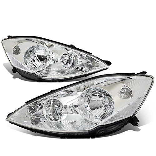 (For Sienna XL20 2nd Gen Pair of Chrome Housing Clear Corner Headlight Lamp Replacement Kit)
