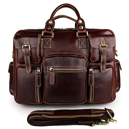 SAIERLONG Men Classic Retro Cowhide Genuine Leather Business handbag(SAIJMD01-4-Red ()