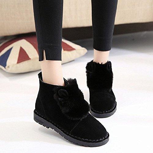 Mid Brown Marrón botas PU para redonda Calf Casual confort nieve botas HSXZ puntera botas Zapatos mujer invierno Forro de talón Negro de piel de plana RZxgqTSZW