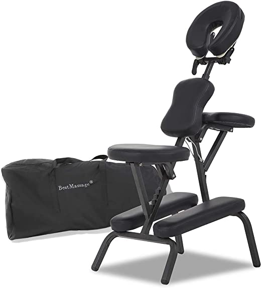 Portable Massage Chairs Tattoo Chair Therapy Chair 4 Inches Thickness Sponge Height Adjustable Folding Massage Chair Face Cradle Salon Massage Chair
