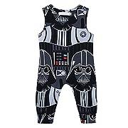 CHICTRY Newborn Baby Boys Kids Star Wars Romper One-Piece Jumpsuit Clothes (6-9 Months, Black)