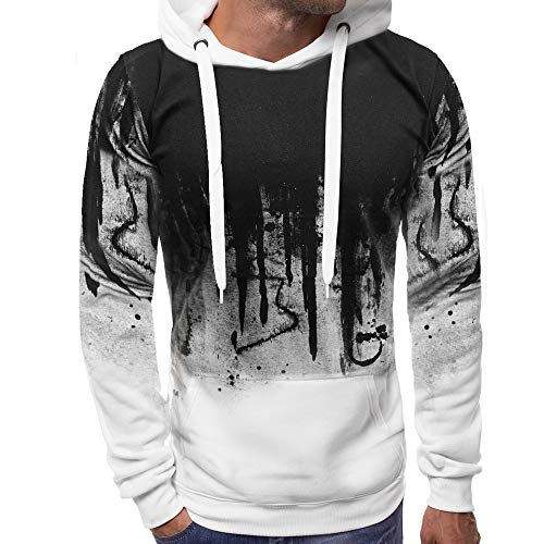 XOWRTE Men's Gradient Color Winter Pullover Hooded Sweatshirt