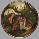 High Quality Polyster Canvas ,the Reproductions Art Decorative Canvas Prints Of Oil Painting 'Pieter Brueghel II,If The Blind Lead The Blind,Both Shall Fall Into The Ditch,1564-1636', 18x18 Inch / 46x46 Cm Is Best For Bar Decoration And Home Gallery Art And Gifts