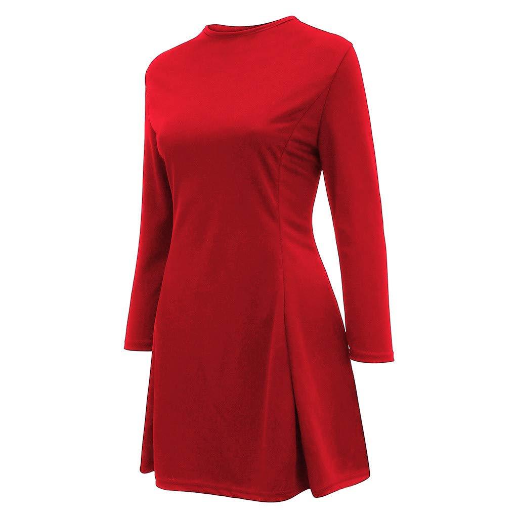 Vestido de Verano Mujer Color Puro Cofre Abierto Cuello en V Cremallera