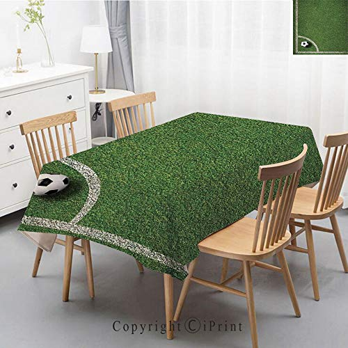 (Washable Square Cotton Linen Print Tablecloth,Vintage Dinner Picnic Table Cloth Home Decoration Assorted Size,47x63 Inch,Sports Decor,Soccer Ball in Corner Kick Position Football Field top View)