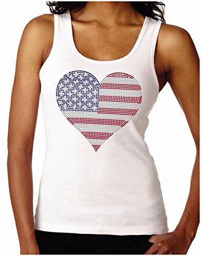 (Wild Woman Tees American Flag Heart 2 Women's Rhinestone Fitted Tank Tops, Small, White)
