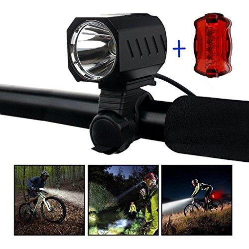 Te-Rich USB LED Fahrradlampe wasserdicht CREE XM-L2 Frontlicht LED Scheinwerfer 1200 Lumen 4 Licht-Modi Fahrradbeleuchtung mit aufladbarer Akku 4400mAh (ein RÜCKLICHT auch inklusiv)