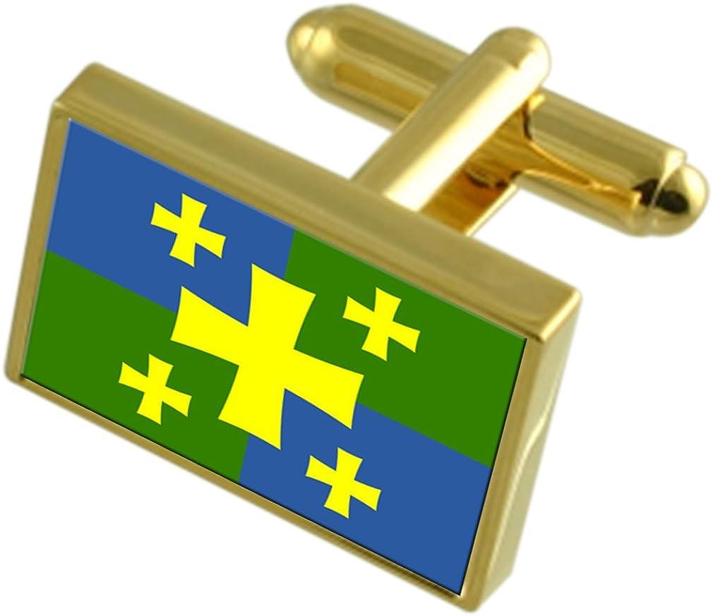 Kutaisi City Georgia Gold-tone Flag Cufflinks