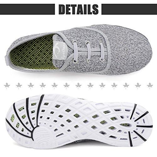 eyeones Womens Mesh Slip On Water Shoes Gray/White oWYC93C