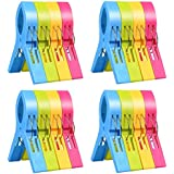 ilyever 16 Pack Fashion Color Beach Towel Clips for Beach Chair or Pool Loungers on Your Cruise-Jumbo Size-Keep Your Towel fr