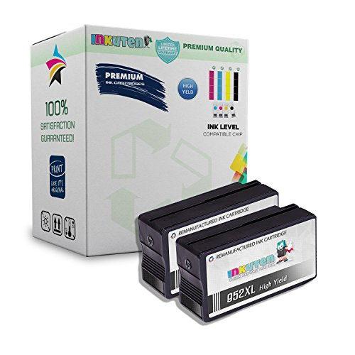INKUTEN 2 Black Remanufactured Ink Cartridge Replacement For HP 952XL High Yield, Compatible with HP Officejet PRO 8700 8734 8210 8710 8714 8715 8716 8717 8720 8724 8725 8726 8727 ()