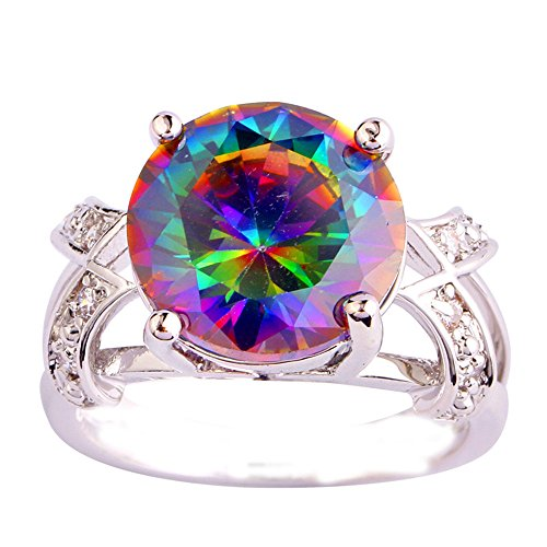 Empsoul 925 Sterling Silver Natural Novelty Plated 6.5ct Rainbow Topaz Wedding Ring
