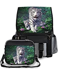 Kidaroo White Tiger & Cubs School Backpack & Lunchbox for Girls, Boys, Kids
