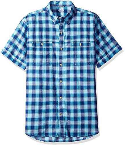 Chambray Plaid Shirt (IZOD Men's Saltwater Dockside Chambray Plaid Short Sleeve Shirt, Deep Blue Radiance, 2X-Large)