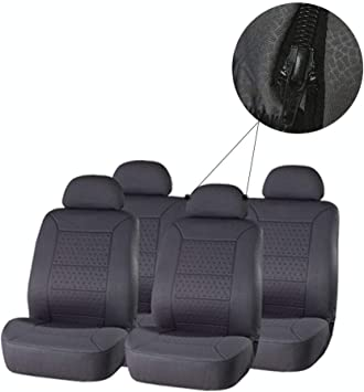 ECCPP Universal Car Seat Cover w//Headrest//Steering Wheel Cover//Shoulder Pads 100/% Breathable Embossed Cloth Stretchy Durable Auto Seat Cover for Most Cars Black//Gray