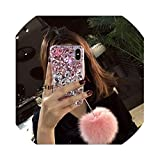 Phone case Female for iphoneXSmax 7 8plus 6plus XR 6S Luxury Crystal Diamond Fox Fur Ball All-Inclusive Shell S9 Shatter-resis,Pink,for iPhone Xs MAX