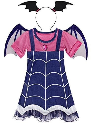 Cotrio Vampire Dress Halloween Costumes Outfit Set Birthday Party Fancy Dresses Boo-Tiful Dressing Up Size 10 (140, 9-10Years, Dress+Hairband+Wing) -