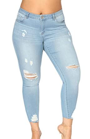 0c7c1bd74c283 Wofupowga Women Pencil Trousers Large Size Stretchy Hole Jeans Distressed  Denim Pants Light Blue S