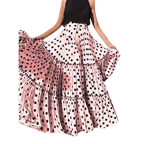 (VEZAD Women Fashion High Waist Polka Dot Printed Skirt Loose Ruffled Pleated Skirt)