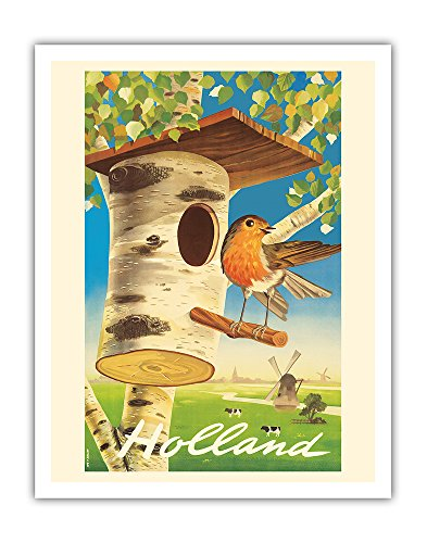 - Pacifica Island Art Holland - Netherlands - Tree Trunk Birdhouse, Dutch Windmills - Vintage World Travel Poster by Cor Van Velsen c.1950s - Fine Art Print - 11in x 14in