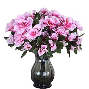 Lopkey 3 Bunches Fake Azalea Artificial Flowers Bouquet Wedding Home Decor,Pink 15