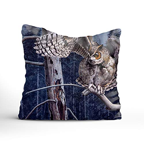 (Decorative Throw Pillow Covers Striped Modern Pillowcases for Indoor Outdoor (18x18 inch, Guy Coheleach Owl Forest Tree Branch Art) )