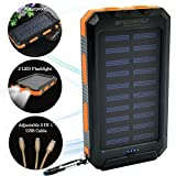 SPEEDWOLF 15,000MAH Waterproof Dual USB Portable Chargers Solar power bank battery for Iphone Ipad android cellphones with 3in1 USB cable and 2LED flashlight for Emergency Outdoor Camping Travel