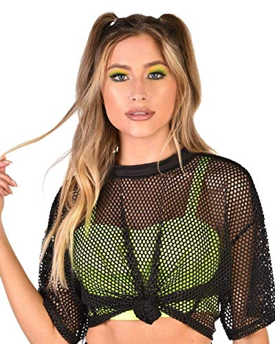 iHeartRaves Free Yourself Black Fishnet Tie Cropped Tee (Small)]()