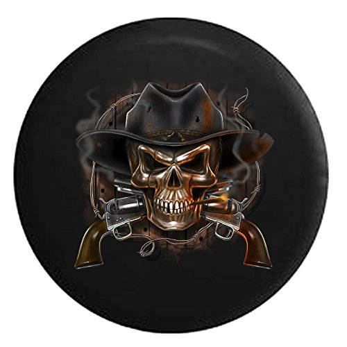 (Old Western Smoking Cowboy Skull with Revolvers Southern CountrySpare Tire Cover Black 33 in)