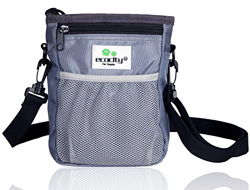 EcoCity 2018 New Upgrade Version Dog Treat Pouch for Training- Built-in Poop Bag Dispenser, Perfect Carries Pet Toys, Treats - 3 Ways to Wear ()