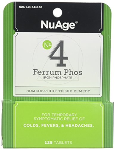 Phos Ferrum Hylands (Hyland's NuAge #4 Ferrum Phosphoricum 6X Tablets, Natural Relief of Colds, Fevers, Headaches, 125 Count)