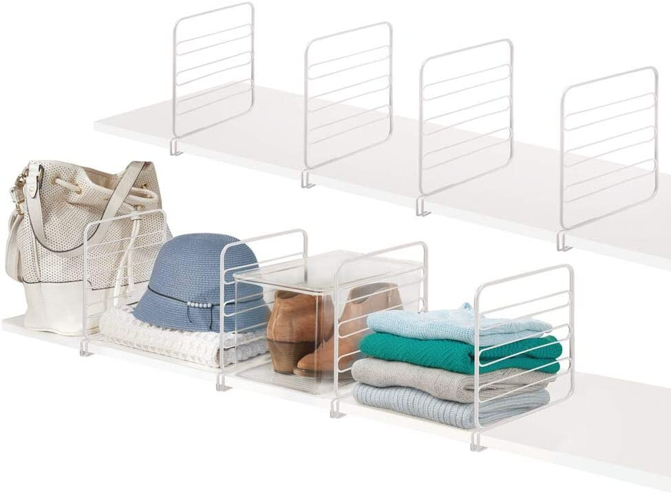 mDesign Versatile Metal Wire Closet Shelf Divider and Separator for Storage and Organization in Bedroom, Bathroom, Kitchen and Office Shelves - Easy Install, 8 Pack - White