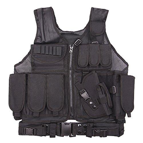 Tactical Vest, PeleusTech Multi-function Tactical Molle Vest Adjustable Breathable Outdoor Airsoft Vest for Hunting, Fishing, Army Fans, CS War Game, Survival Game, Combat Training - (Black) - Bullet Logo Belt Buckle