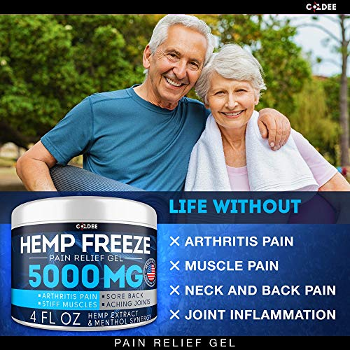51POHIvTZ1L - Coldee Pain Relief Hemp Oil Gel - 5000 MG, 4 OZ - Max Strength & Efficiency - Natural Hemp Extract for Arthritis, Knee, Joint & Back Pain - Made in USA - Hemp Cream for Inflammation & Sore Muscles