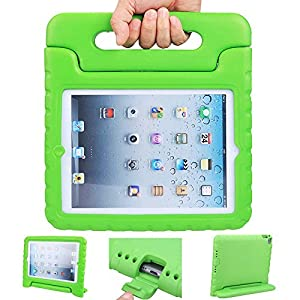 iPad air 2 case, ipad 6 case, ANTS TECH Light Weight [ Shockproof ] Cases Cover with Handle Stand for Kids Children for iPad air 2 (6) (iPad Air 2 (6), Green)