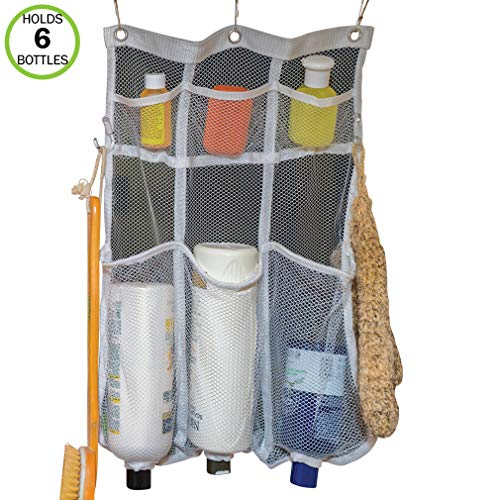 Evelots Mesh Shower Caddy-6 Pockets-Hooks for Brushes-Holes for Bottles-Dry Fast (Best Shower Caddy For Clawfoot Tub)