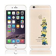 "iPhone 6 Plus/6s Plus (5.5"") Minions Cartoon Silicone Phone Case / Gel Cover for Apple iPhone 6S Plus 6 Plus (5.5"") / Screen Protector & Cloth / iCHOOSE / Team of 4"