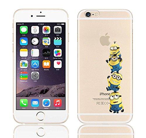 iCHOOSE iPhone 5S Caso / Minions Dibujos Animados Cubierta de Gel para Apple iPhone 5s 5 / Protector de Pantalla y Paño / Cuelgue Bien Equipo de 4