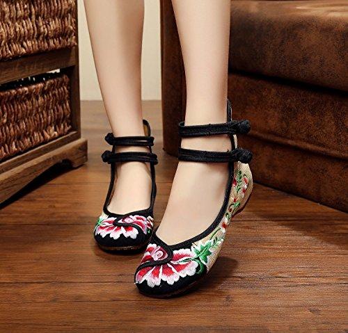 WXT Zapatos bordados finos, lenguado del tendón, estilo étnico, zapatos femeninos, manera, zapatos cómodos, que bailan Black