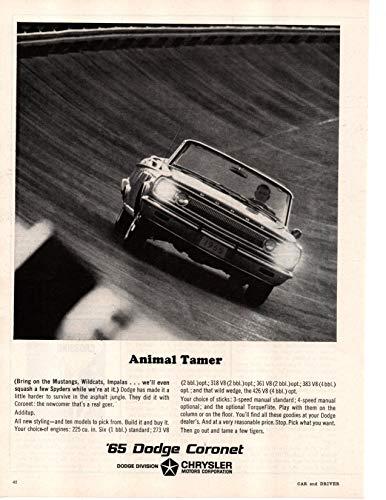 Magazine Print Ad: 1965 Dodge Coronet, 226 6 cylinder, 273, 318, 361, 383, 426 V-8 engines,