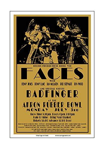 Raw Sugar Art Studio Faces/Rod Stewart/Badfinger 1972 Akron Concert Poster