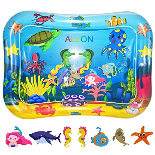 ALLON Tummy Time Water Play Mat for Infants & Toddlers, Inflatable Baby Playmat Toys for Newborn Boys & Girls Motor Skills - Suitable for 3 Months & Up - Comes with Air Pump