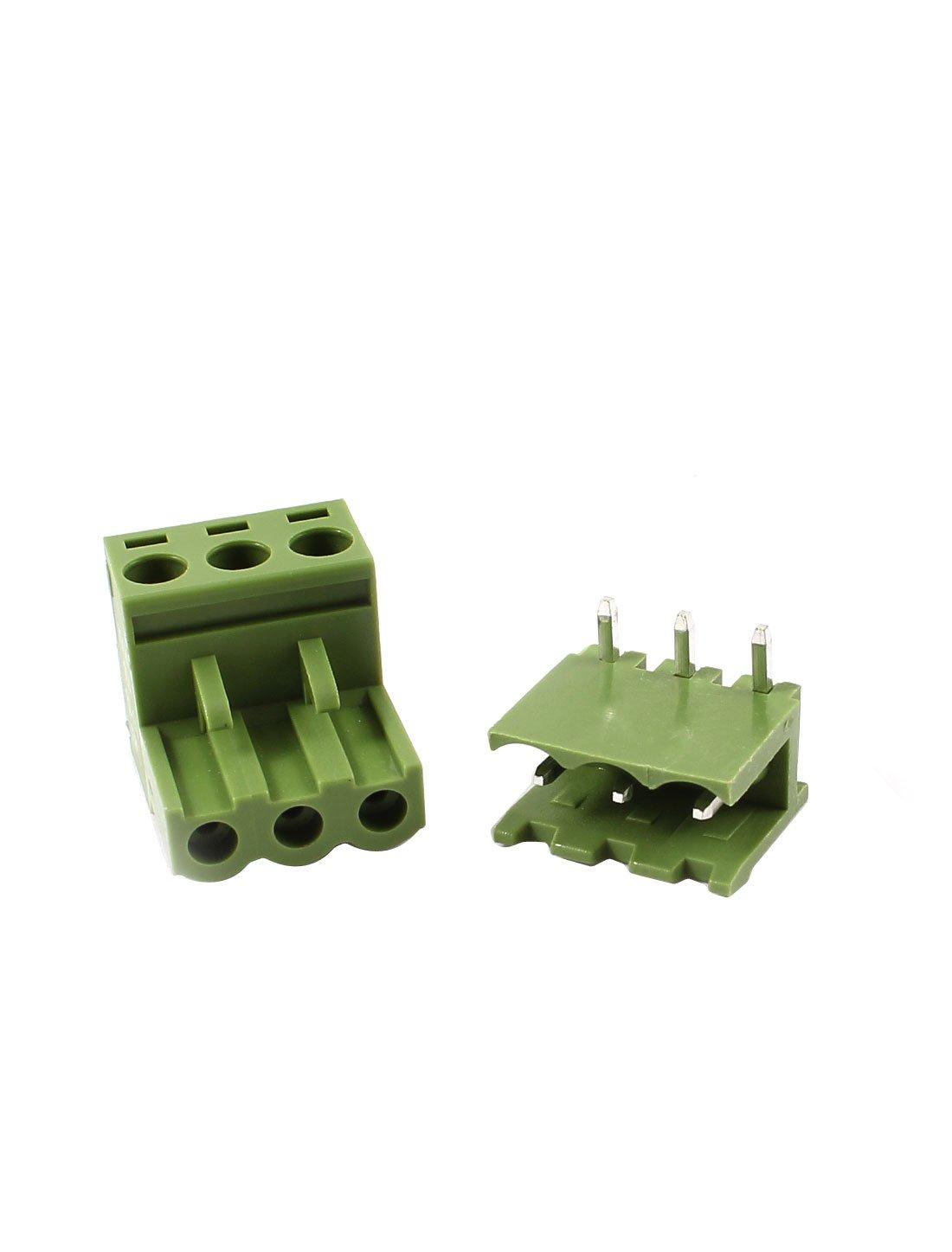 sourcingmap/® 10 Paia 5,08 mm Distanza tra Le 3 Pin Vite Pluggable MORSETTIERA Verde