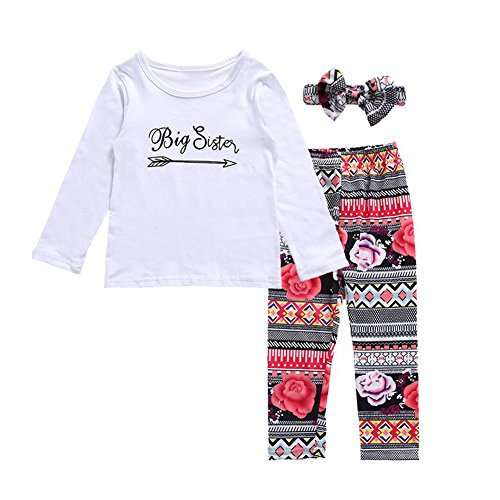 OUTGLE Baby Girl Romper T-Shirt Top + Floral Trousers + Headband Clothing Set Sisters Outfits
