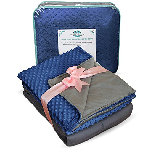 Weighted Blanket Adult Size-For Heavy Stress Relief, Autism, Restless Leg Syndrome and natural calm for anxiety - Gravity Blue 60 x 80 Inches, 20 LBS-Blankets made by our best Relaxation Sleep Fabric