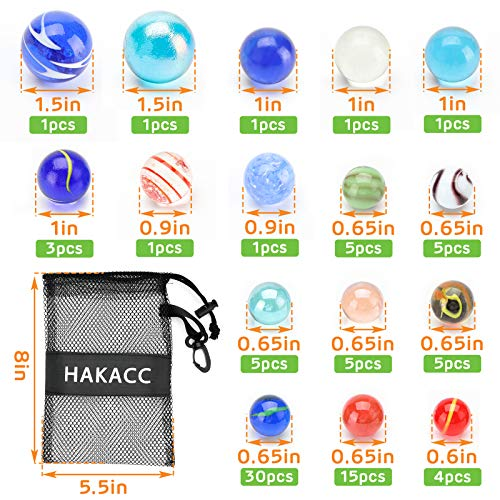 SallyFashion 85 Pieces Planet Marbles in Drawstring Bag, Space Marbles for Kids, Marbles Assorted Sizes for Party Favor Stocking Stuffer DIY Home Decor
