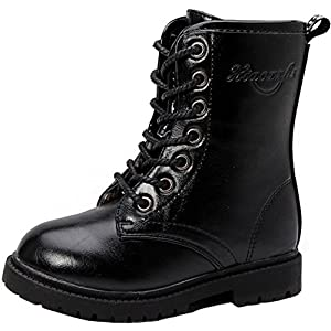 PPXID Boy's Girl's Waterproof Lace-Up Side Zipper Mid Calf Combat Boots-Black 1.5 US Size
